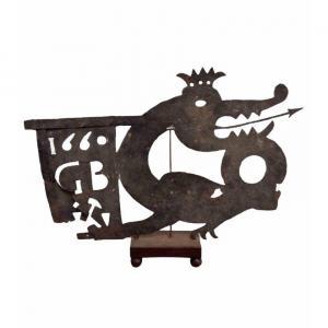 Rare Girouette Dragon/wyvern En Fer Forgé 1660