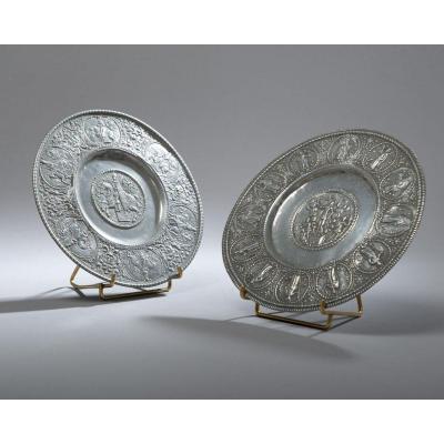 Pair Of 17th Century Pewter Patenes
