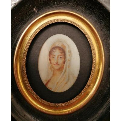 Miniature Laetizia Bonaparte Epoque Empire Nacre