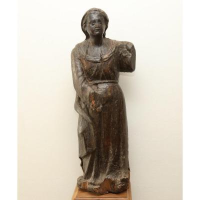 Statue En Chêne XVIIe 85cm