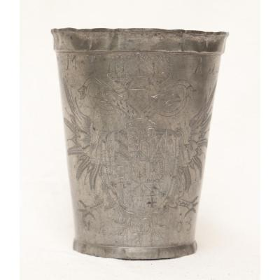 Extremely Rare Pewter Cup Emperor Francis II Of Austria 1805