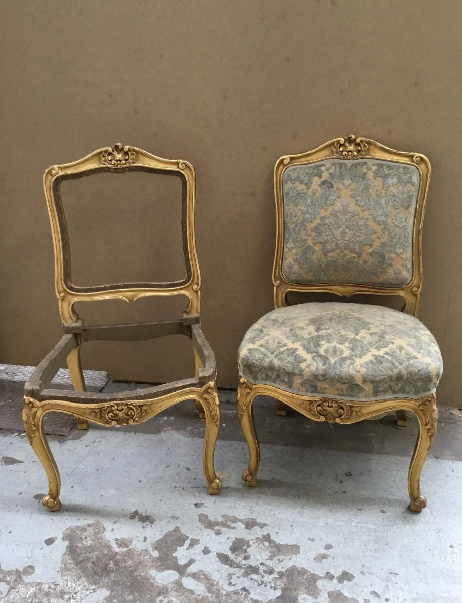Pair Of Louis XV Style Chairs, Gilded Wood