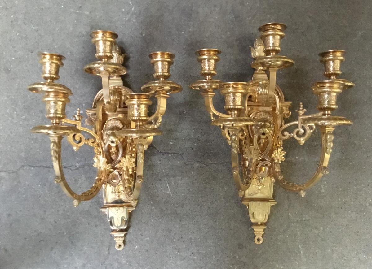 Paire d'appliques en bronze doré, de style Louis XIV