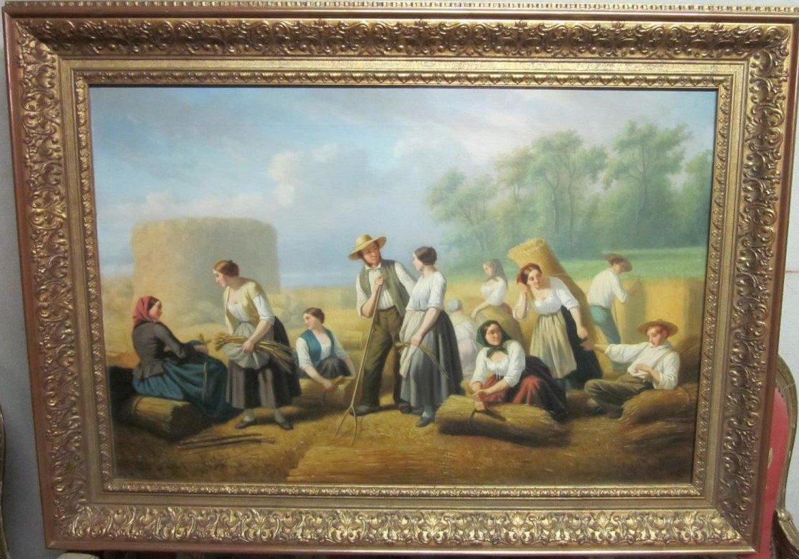 Huile sur toile XIXème siècle : Scène de moissons