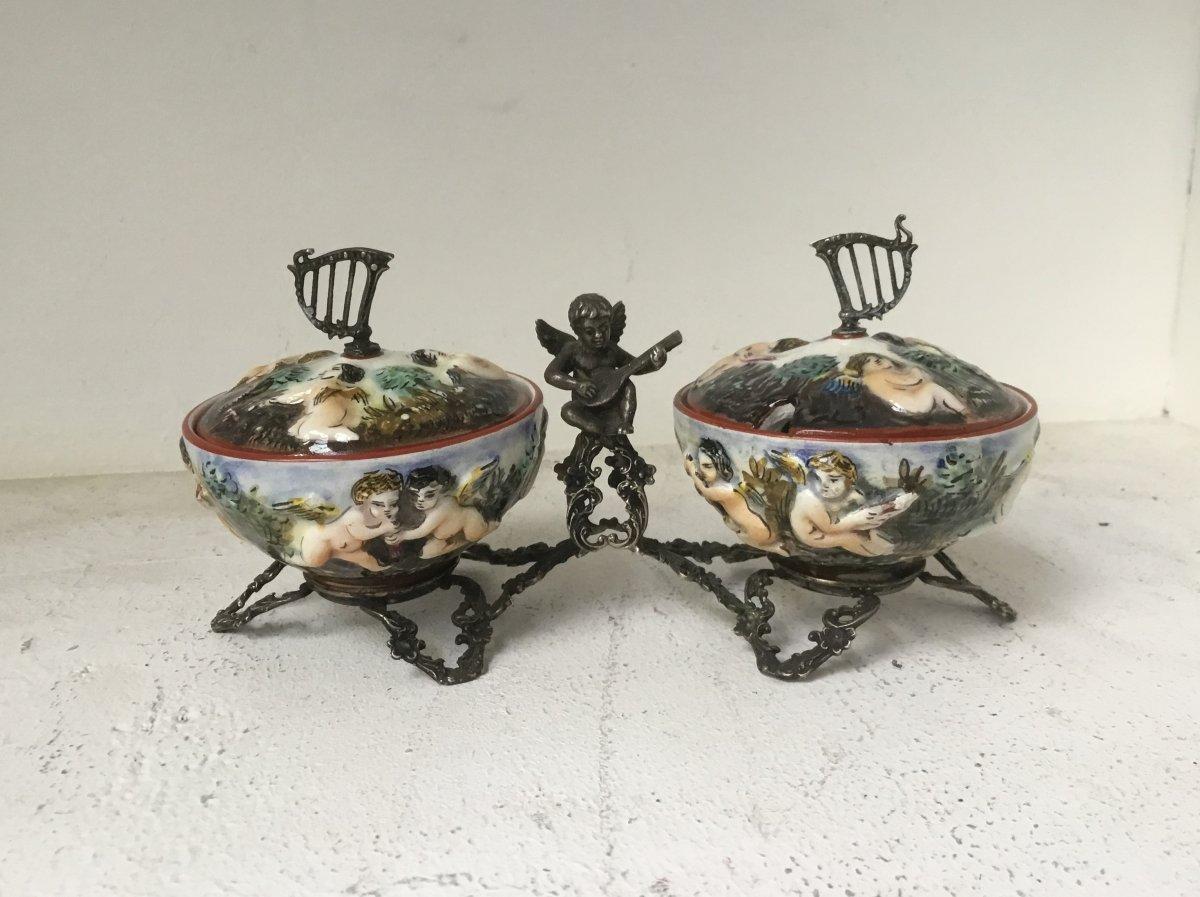 Capodimonte: Pair Of Salt Cellars, 19th Century