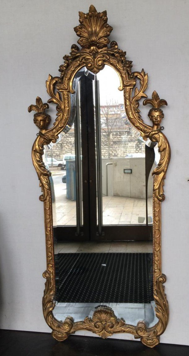 Large Regency Style Mirror, First Half Of The 19th Century