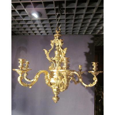 Lustre en bronze doré de style Louis XIV, XIXème siècle