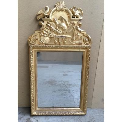 Carved And Gilded Wooden Mirror, 18th Century
