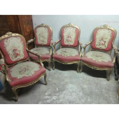Suite Of Four Louis XV Style Armchairs, 19th Century