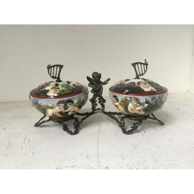 Capodimonte: Pair Of Salt Cellars, 19th Century