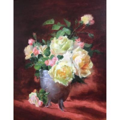 Ecole Lyonnaise du XIXe siècle : bouquet de fleurs