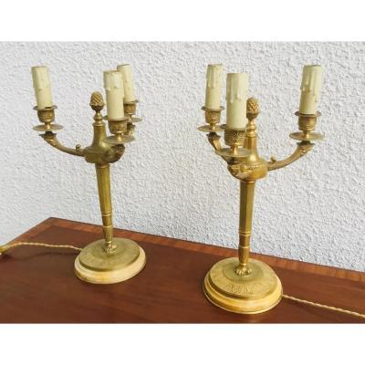 Paire de candélabres de style Empire