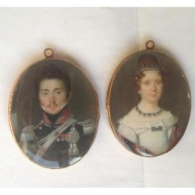 Paire de miniatures d'époque Louis XVIII