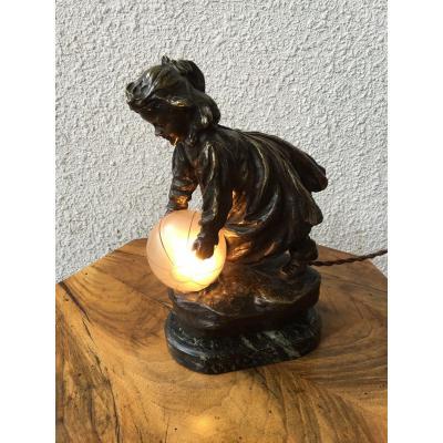 CARDONA José (1878-1923) - Veilleuse en bronze
