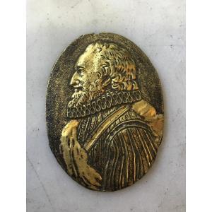 Médaille en bronze doré, Henri IV, 17e siècle