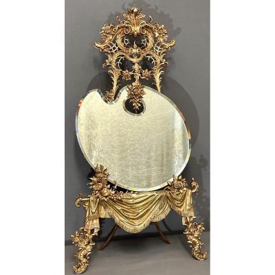 Grand Miroir De Table En Bronze Haut 89cm