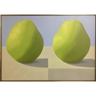 Peter Dechar (1942--) Pears, 1967. Oil on canvas. 91.4 x 132.5 cm Framed. Excellent condition.<br />