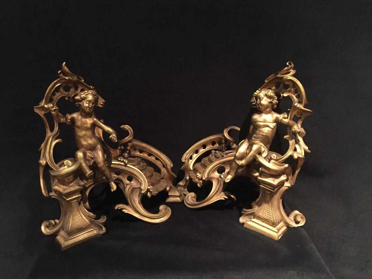 Paire De Chenets Louis XV en bronze