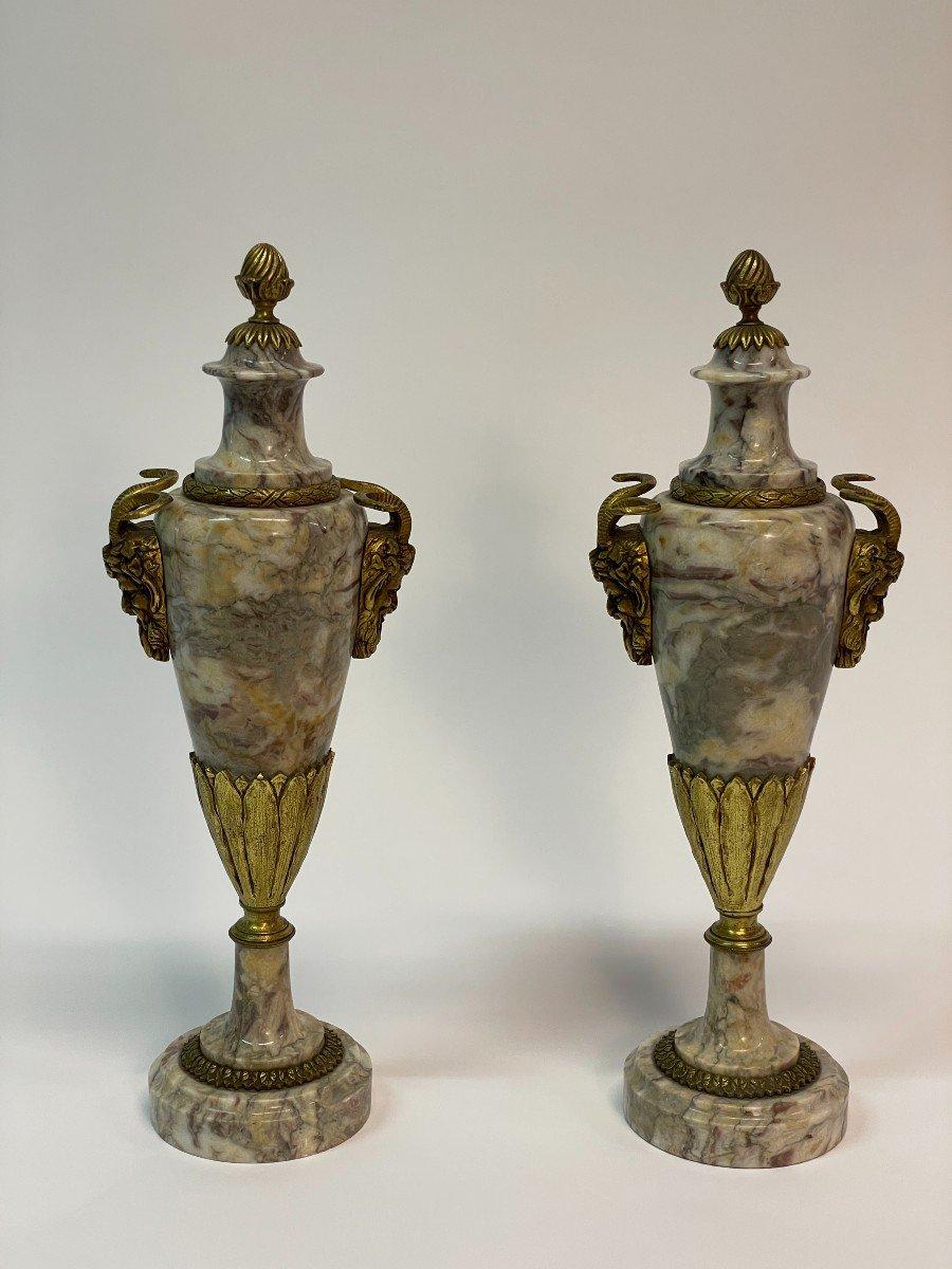 Paire De Vase Couvert, Cassolette  En Marbre Et Bronze-photo-2