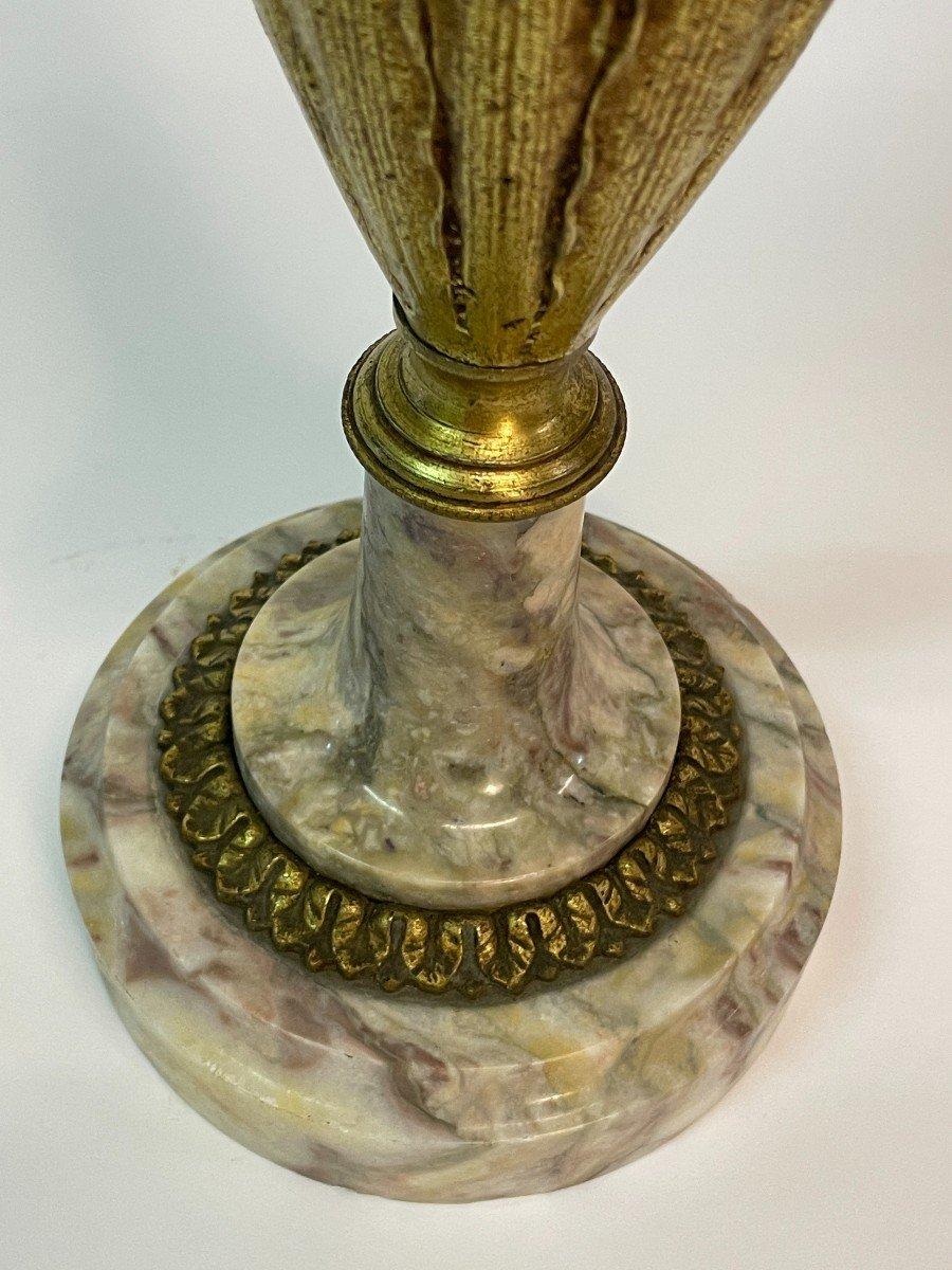 Paire De Vase Couvert, Cassolette  En Marbre Et Bronze-photo-3