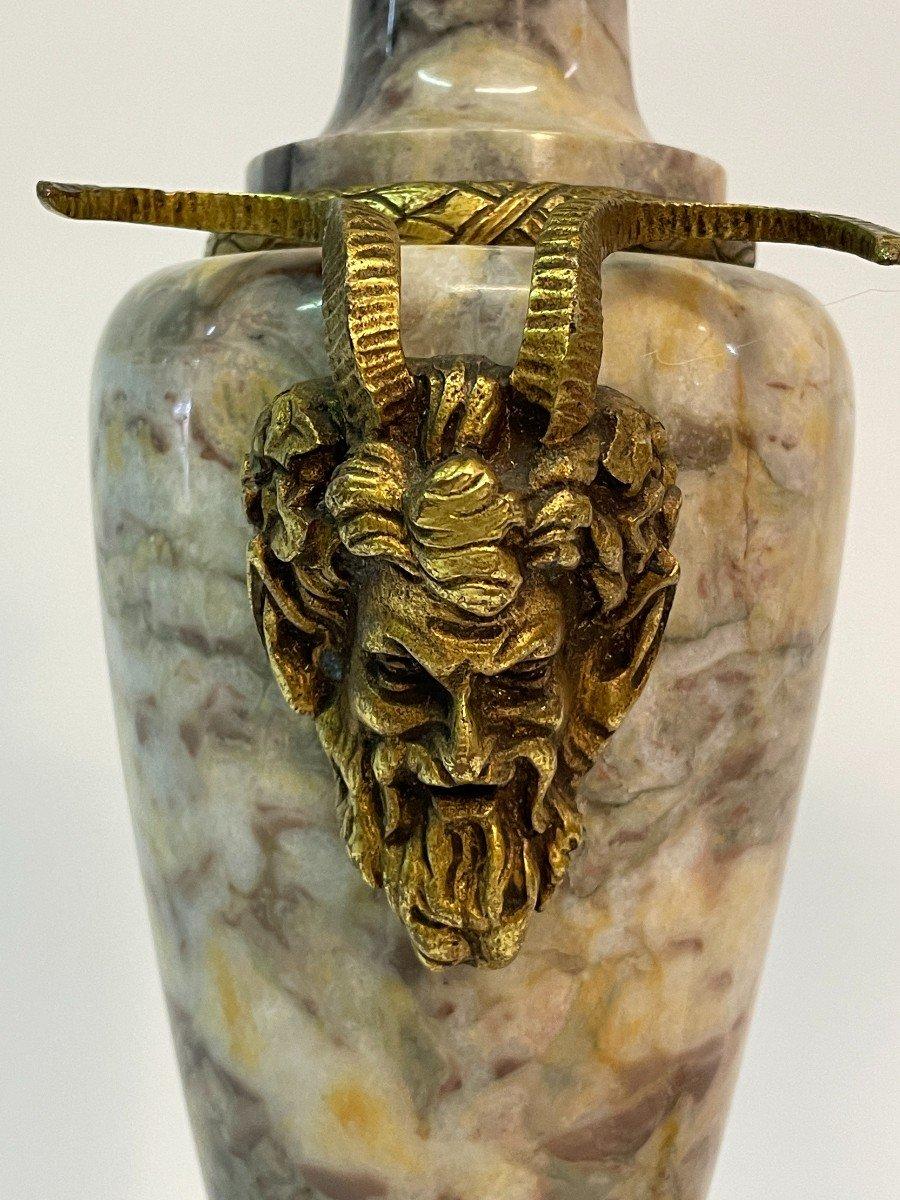 Paire De Vase Couvert, Cassolette  En Marbre Et Bronze-photo-4