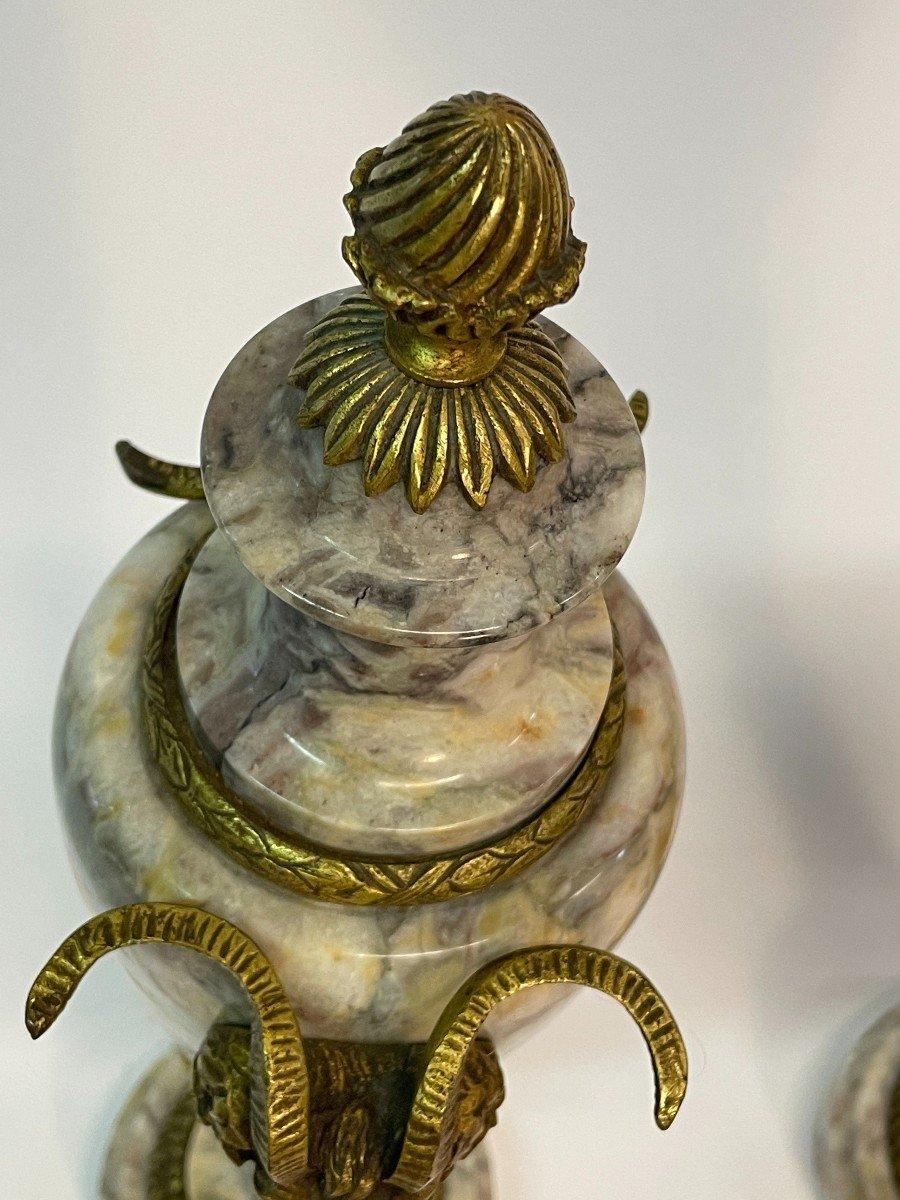 Paire De Vase Couvert, Cassolette  En Marbre Et Bronze-photo-1