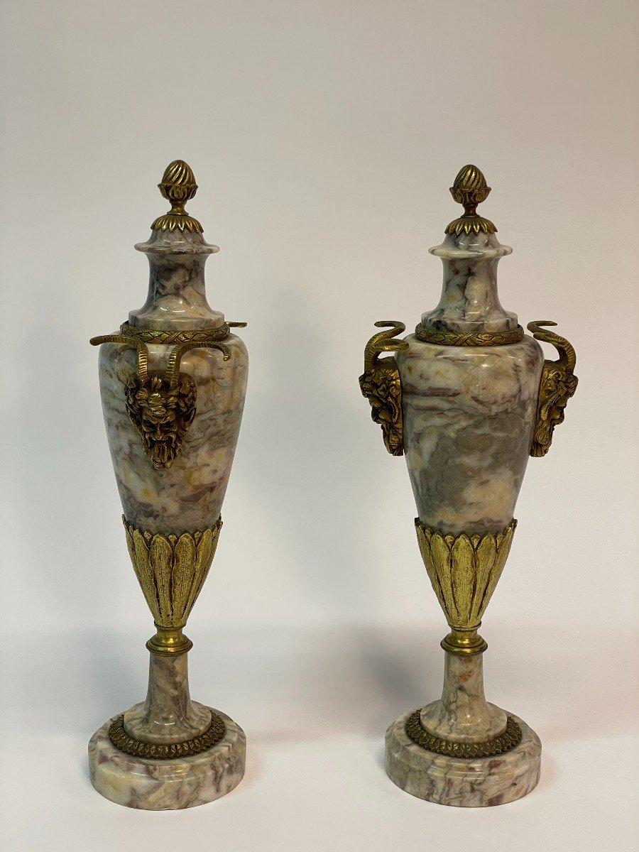Paire De Vase Couvert, Cassolette  En Marbre Et Bronze