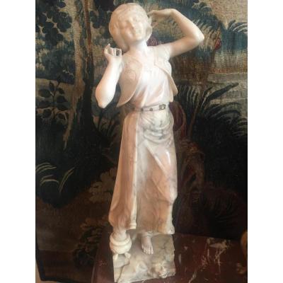 Sculpture En Marbre Et Albâtre «la Gitane»