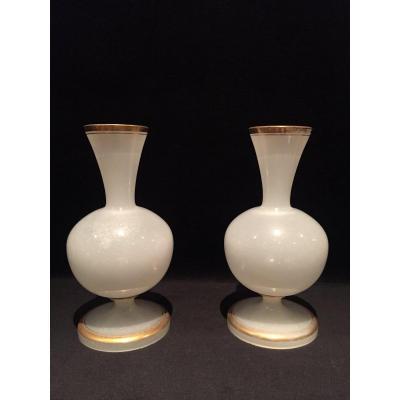 Paire De Vase En Opaline