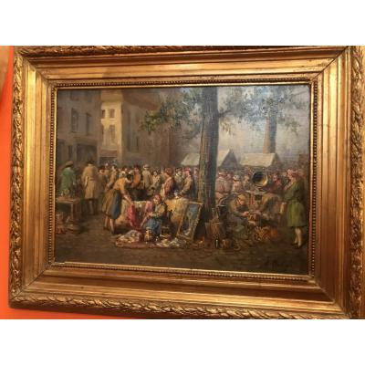 Table dating from the first quarter of the XX Century around 1920, representing the flea market. Very nice subject, painted on canvas with its original frame. Signed A. Dally
