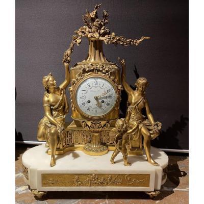 Bronze And Marble Clock By Raingo In Paris