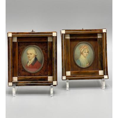 Pair Of Miniatures On Ivory XIX Century