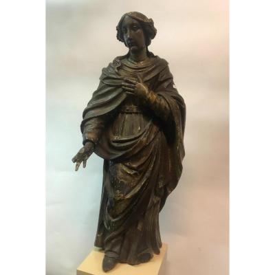Saint In Carved Wood XVII Century