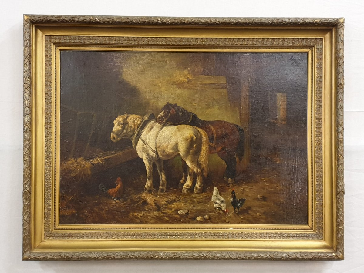 Horses Signed Charles Tschaggeny (1815 - 1894) Oil On Canvas 100 X 135 Cm