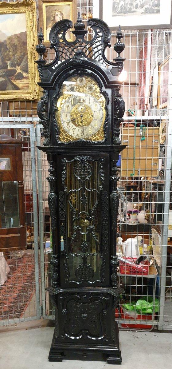 Grand Horloge De Parquet à Musique 9 Tuyaux Alan Raper London 272 Cm