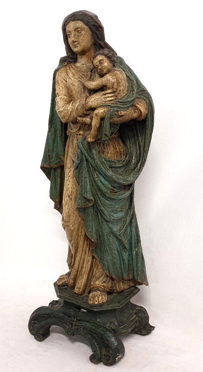 Figure Mere De Dieu Avec Enfant 18eme Siecle Polychrome-photo-2