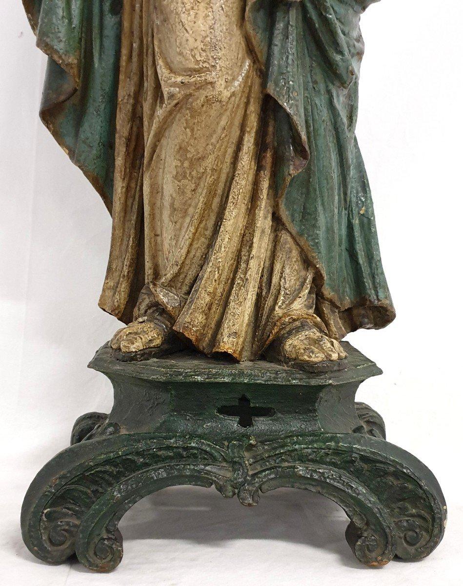 Figure Mere De Dieu Avec Enfant 18eme Siecle Polychrome-photo-1