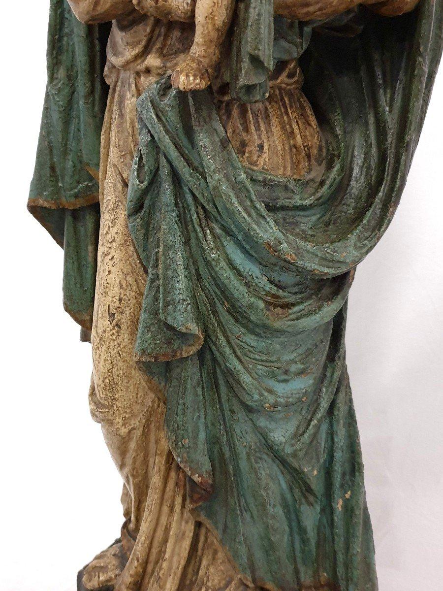 Figure Mere De Dieu Avec Enfant 18eme Siecle Polychrome-photo-3