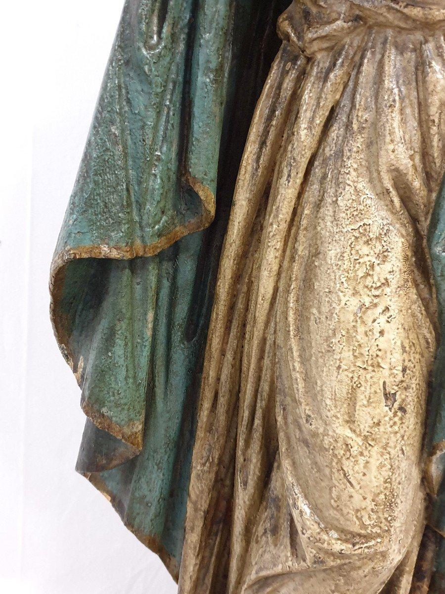 Figure Mere De Dieu Avec Enfant 18eme Siecle Polychrome-photo-4
