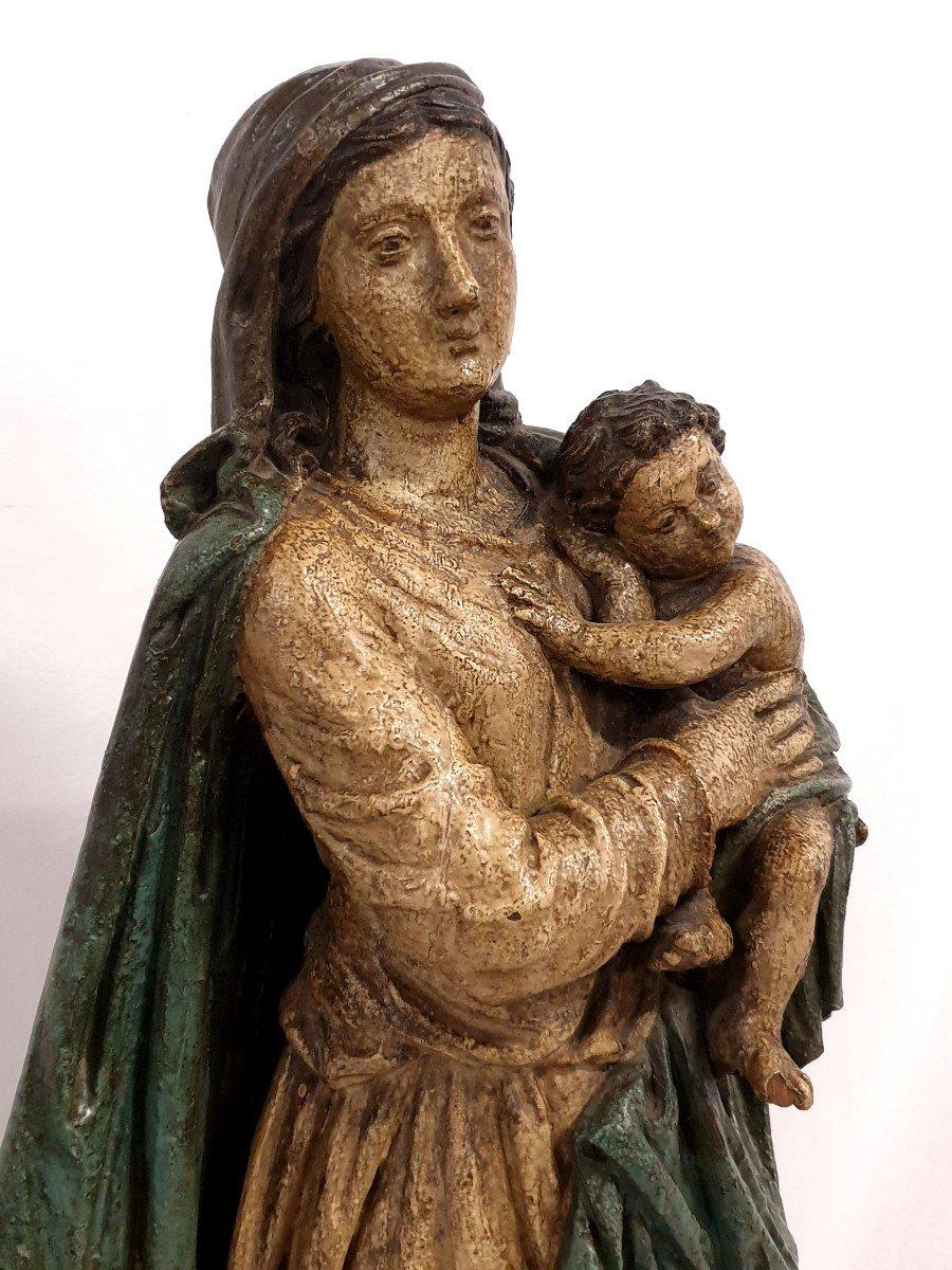 Figure Mere De Dieu Avec Enfant 18eme Siecle Polychrome-photo-5