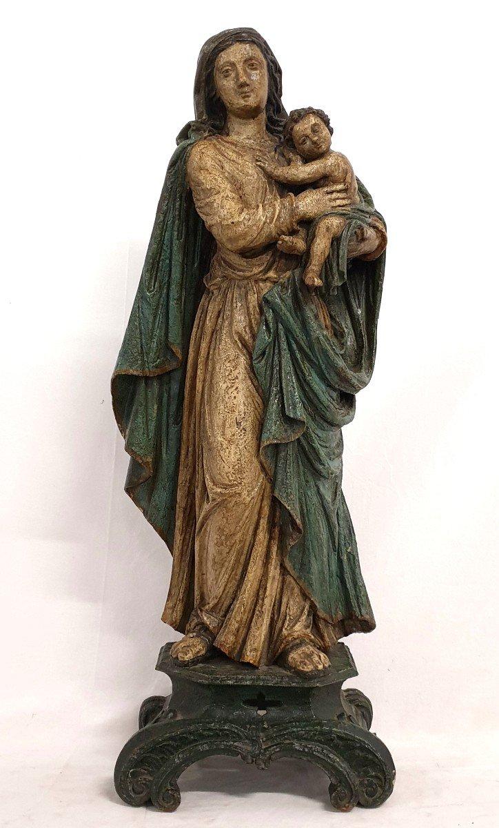 Figure Mere De Dieu Avec Enfant 18eme Siecle Polychrome