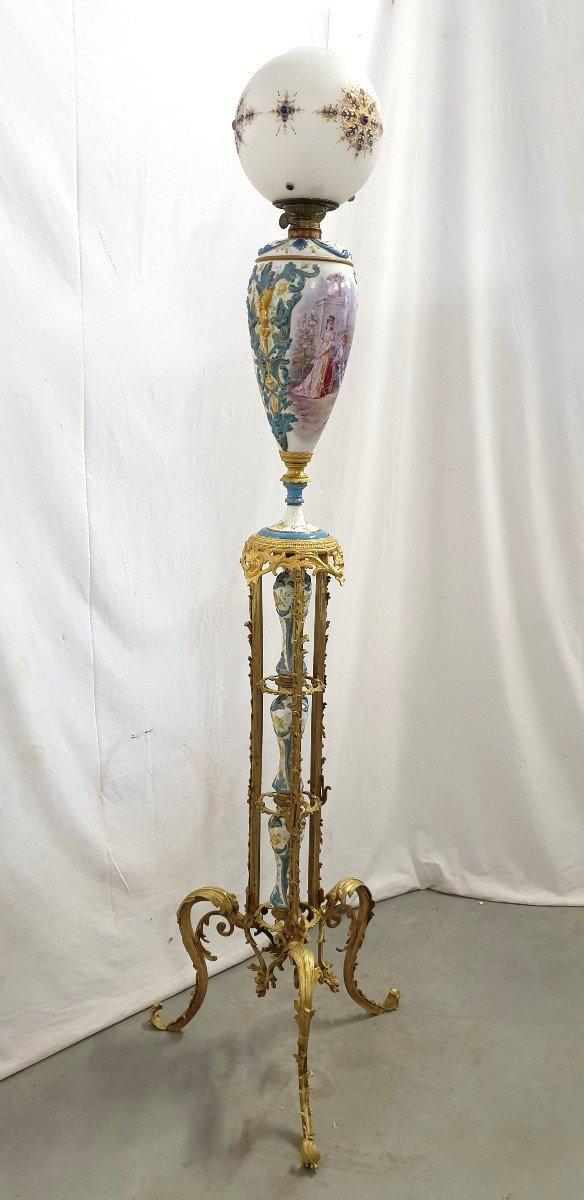 Lampadaire Porcelaine De Sevres Bronze Dore Signee 193 cm-photo-2