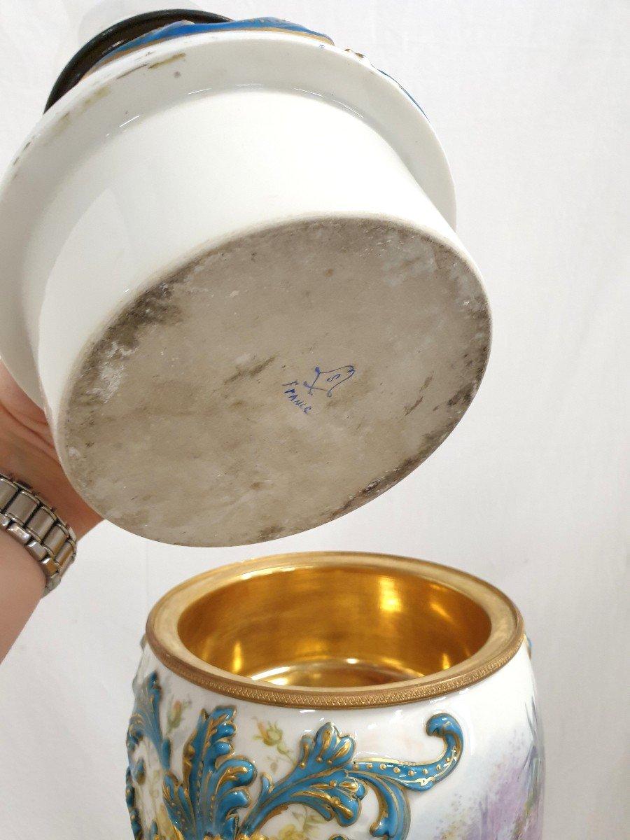 Lampadaire Porcelaine De Sevres Bronze Dore Signee 193 cm-photo-1