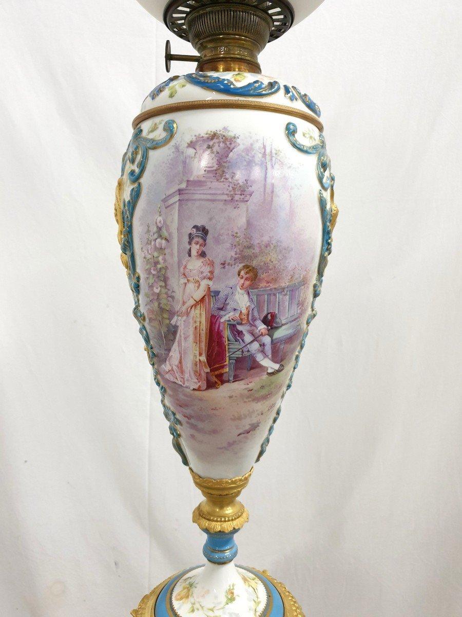 Lampadaire Porcelaine De Sevres Bronze Dore Signee 193 cm-photo-3