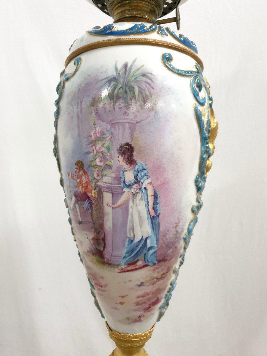 Lampadaire Porcelaine De Sevres Bronze Dore Signee 193 cm-photo-4