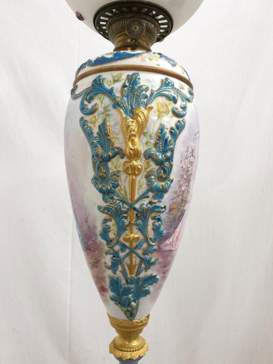 Lampadaire Porcelaine De Sevres Bronze Dore Signee 193 cm-photo-5