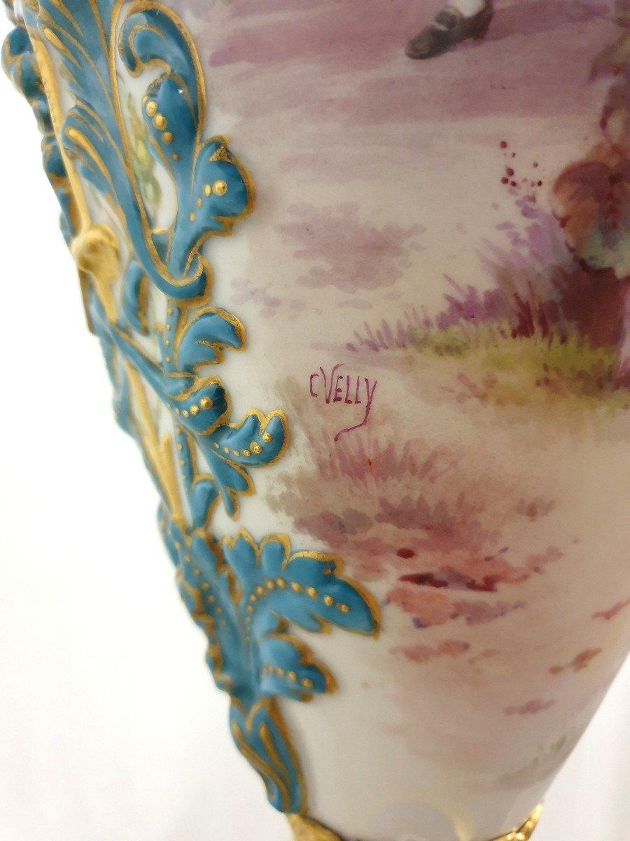 Lampadaire Porcelaine De Sevres Bronze Dore Signee 193 cm-photo-6