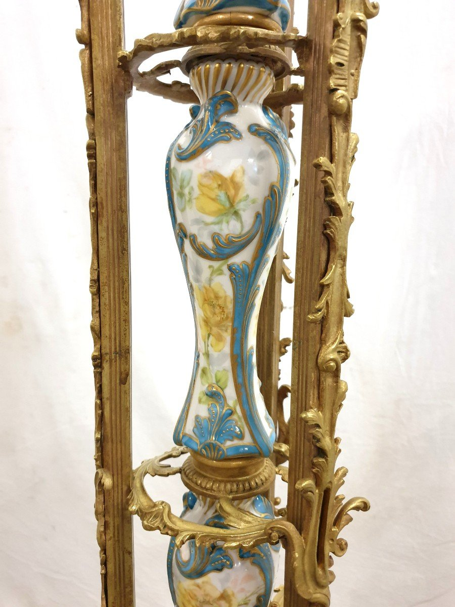 Lampadaire Porcelaine De Sevres Bronze Dore Signee 193 cm-photo-8