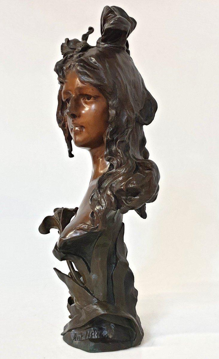 Buste En Bronze Art Nouveau Ant Nelson Paris 63 Cm-photo-2
