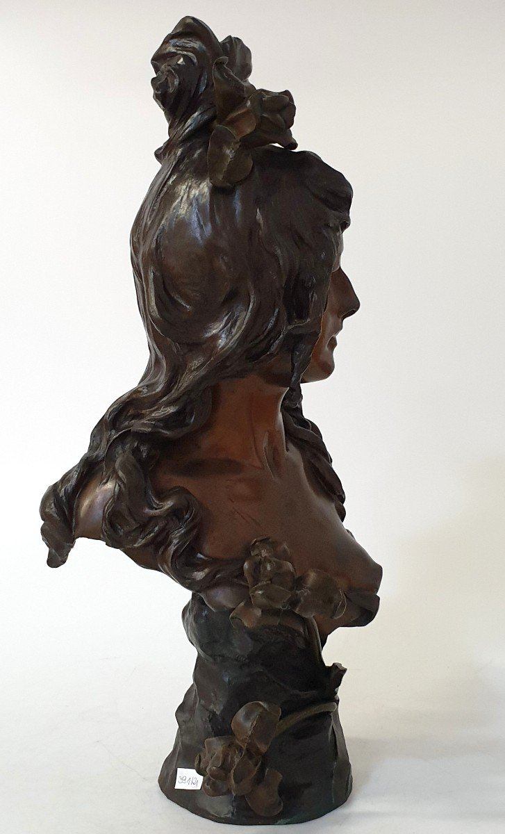 Buste En Bronze Art Nouveau Ant Nelson Paris 63 Cm-photo-4